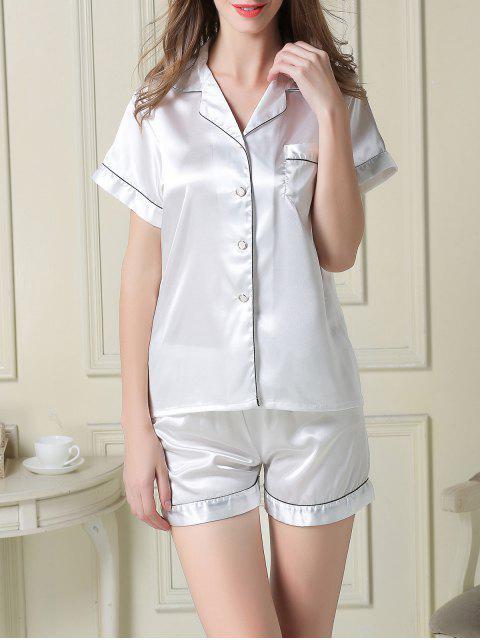 best Short Sleeve Satin Boxer Pajama - WHITE XL Mobile