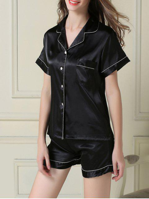 outfits Short Sleeve Satin Boxer Pajama - BLACK L Mobile