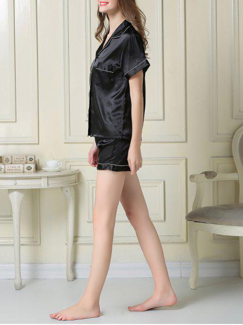 shop Short Sleeve Satin Boxer Pajama - BLACK M Mobile