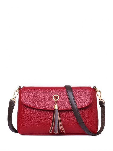 online PU Leather Eyelet Tassel Shoulder Bag - RED  Mobile