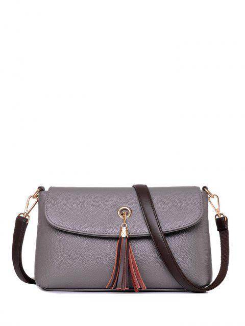 hot PU Leather Eyelet Tassel Shoulder Bag -   Mobile