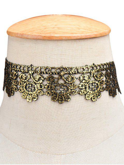 fashion Flower Wide Choker - GOLDEN  Mobile