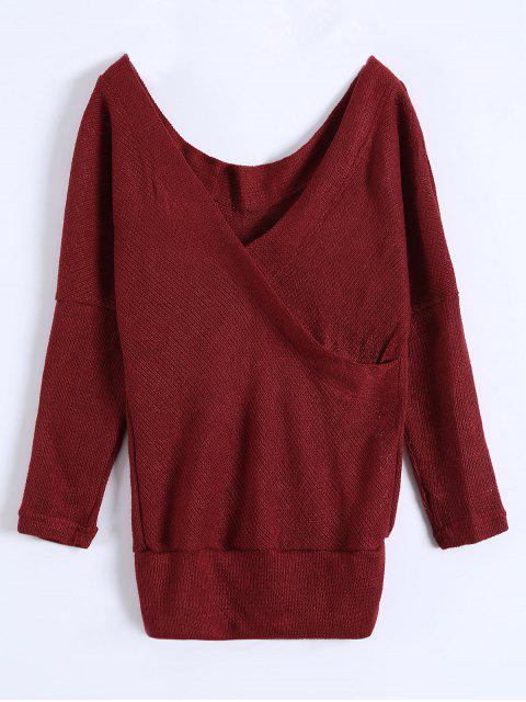 unique V Neck Cozy Sweater - BURGUNDY XL Mobile
