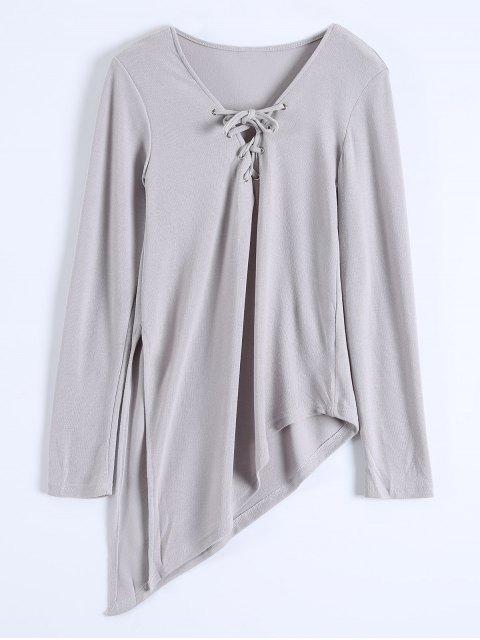 shop Long Sleeves Asymmetric Hem Tee - GRAY S Mobile