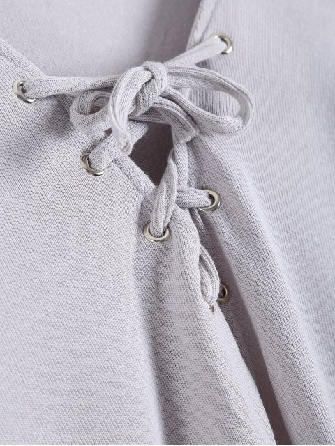 outfits Long Sleeves Asymmetric Hem Tee - GRAY M Mobile