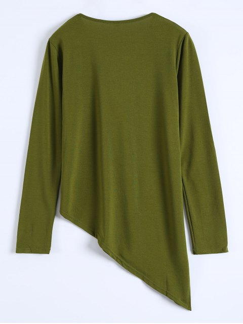 fashion Long Sleeves Asymmetric Hem Tee - ARMY GREEN S Mobile