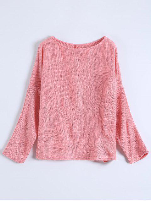 women Slash Neck Pullover Sweater - PINK S Mobile