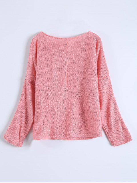 affordable Slash Neck Pullover Sweater - PINK XL Mobile