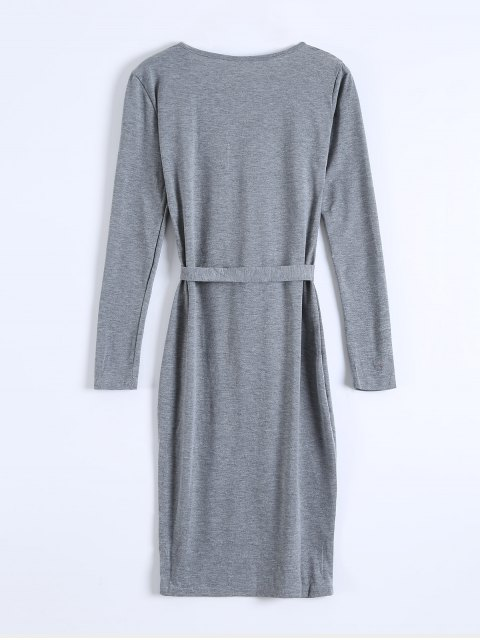 fashion Single-Breasted Belted Bodycon Dress - GRAY S Mobile