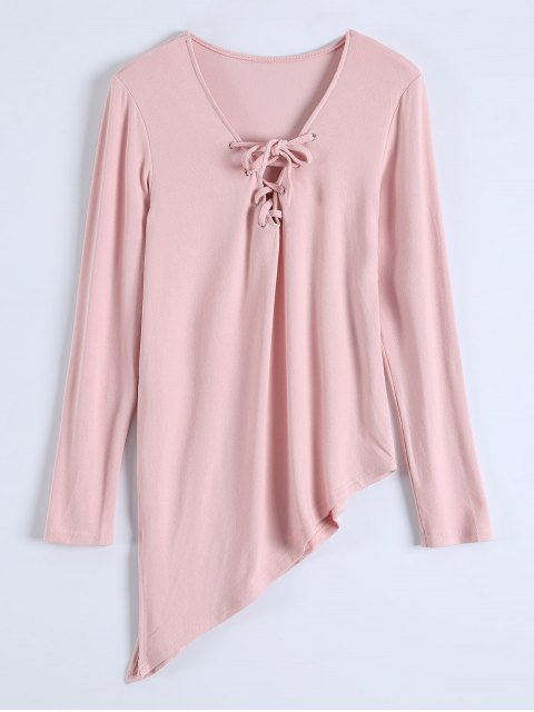 online Long Sleeves Asymmetric Hem Tee - PINK M Mobile