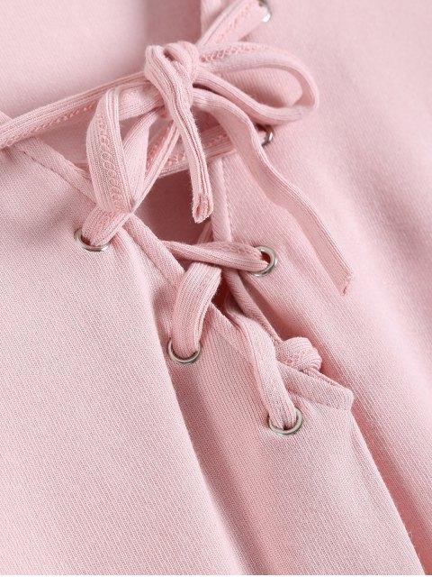 online Long Sleeves Asymmetric Hem Tee - PINK M Mobile