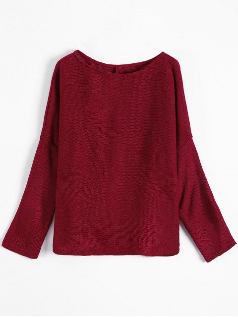 best Slash Neck Pullover Sweater - BURGUNDY S Mobile