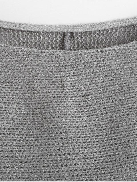 shop Slash Neck Pullover Sweater - GRAY L Mobile