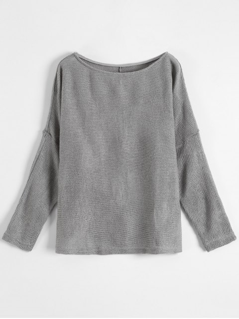 shops Slash Neck Pullover Sweater - GRAY M Mobile