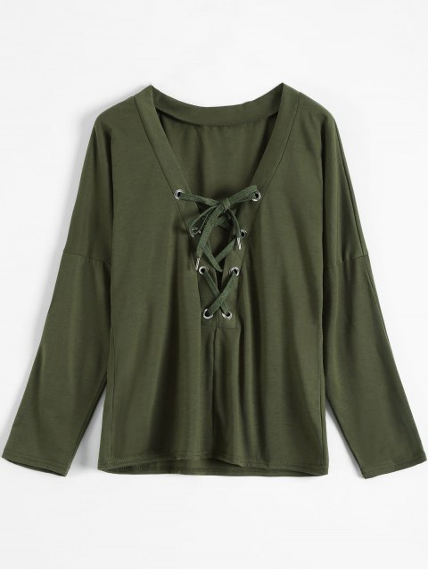 fancy Long Sleeves Lace Up Plunge Tee - ARMY GREEN L Mobile