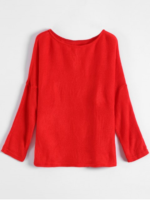 fancy Slash Neck Pullover Sweater - RED S Mobile