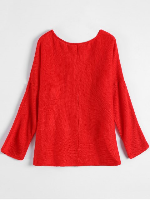 chic Slash Neck Pullover Sweater - RED M Mobile