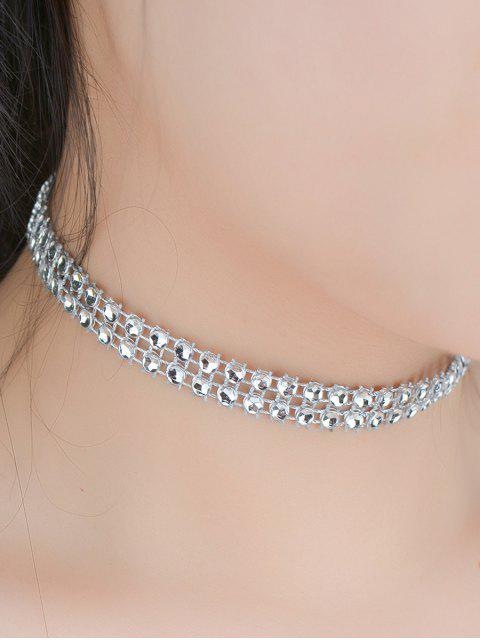 womens Tiered Plastic Beaded Choker - SILVER  Mobile