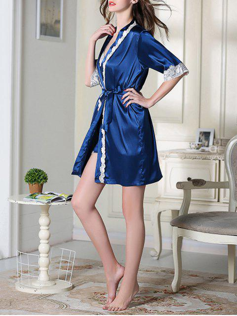 shop Satin Cami Top and Shorts and Sleep Robe - ROYAL XL Mobile