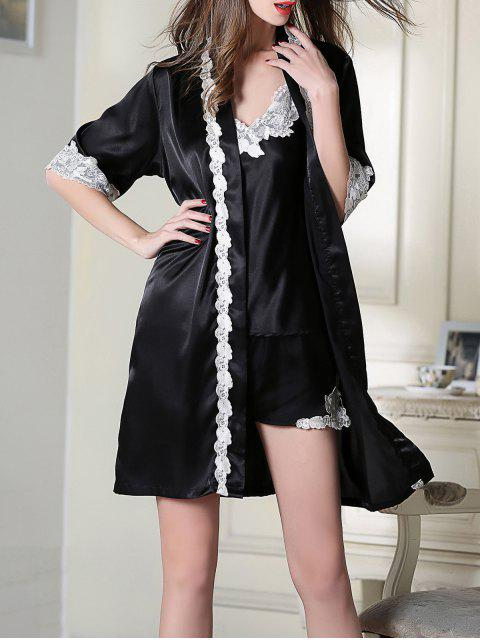 unique Satin Cami Top and Shorts and Sleep Robe - BLACK 2XL Mobile