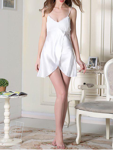online Lace Satin Slip Sleep Dress - WHITE L Mobile