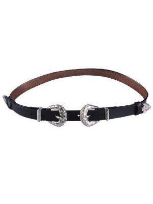 Cinturón De Cuero Repujado Doble Hebilla De Imitación - Negro