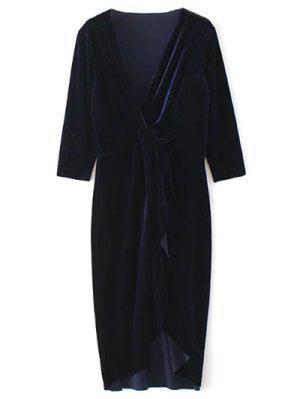 Frente Torcer Cuello En V Vestido De Terciopelo - Azul Purpúreo L