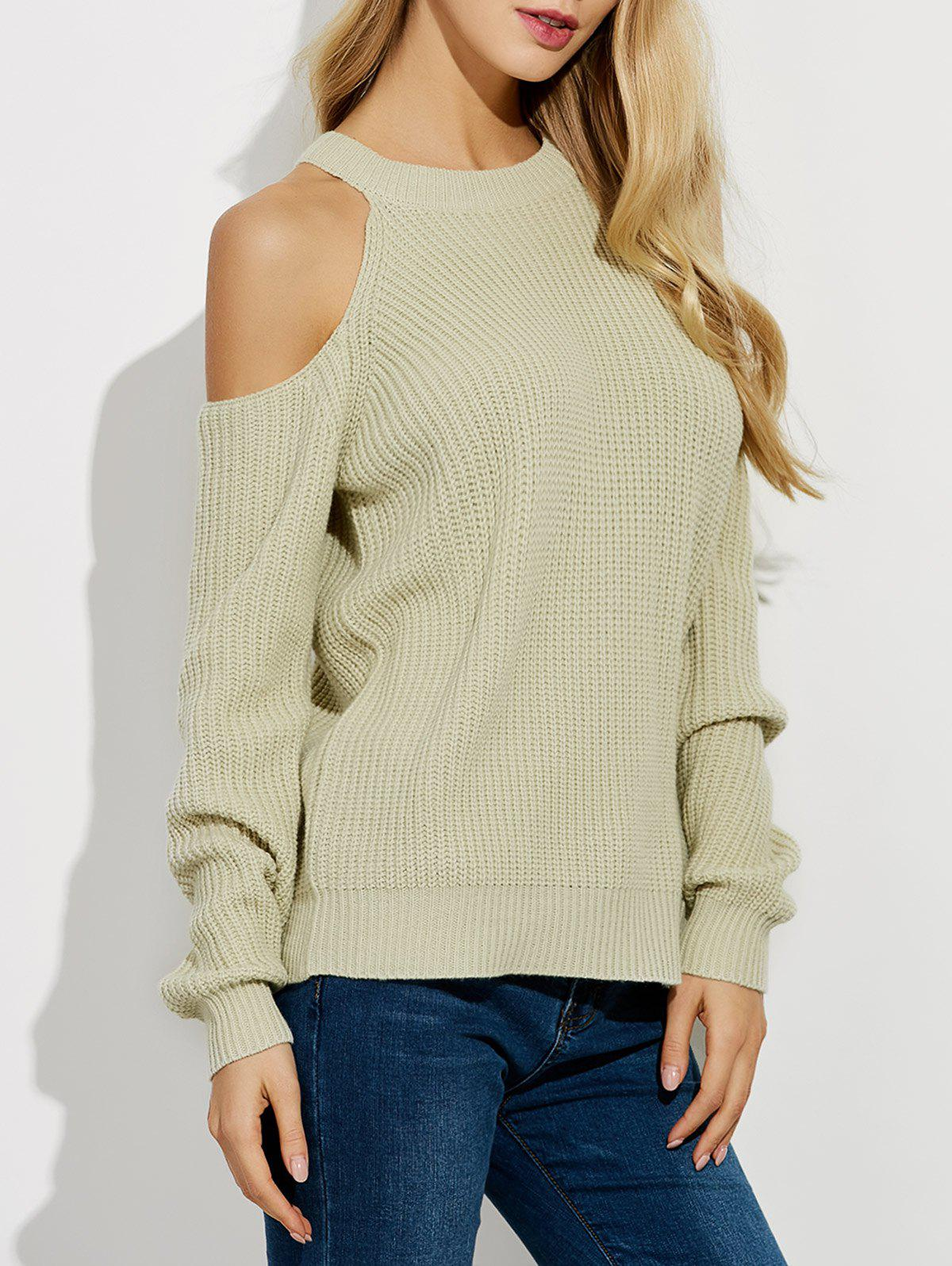 Cold Shoulder Crew Neck Ribbed Sweater 204226904