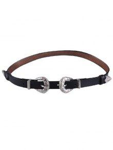 Embossed Double Buckle Faux Leather Belt - Black