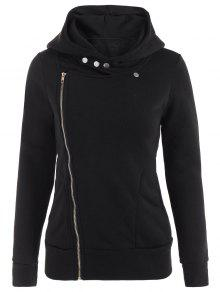 Fleece Inner Asymmetric Zip Hoodie - Black M
