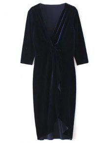Twist Front V Neck Velvet Dress - Purplish Blue M