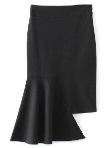 Asymmetric Trumpet Skirt - Black S