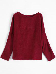 Slash Neck Pullover Sweater BURGUNDY: Sweaters M | ZAFUL