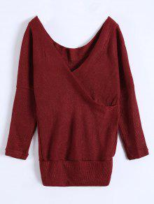V Neck Cozy Sweater - Burgundy M