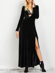 Long Sleeve High Slit Low Cut Maxi Dress - Black M