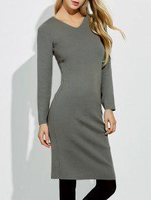 Midi Jumper V Neck Sheath Dress - Gray M