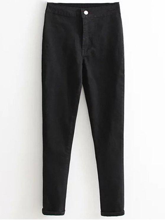 De cintura alta pantalones vaqueros flacos de pies estrechos - Negro L