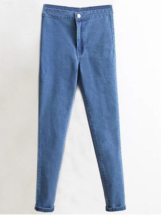 De cintura alta pantalones vaqueros flacos de pies estrechos - Denim Blue M