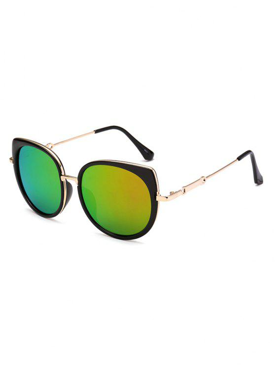 affordable Cat Eye Mirror Sunglasses - LIGHT GREEN