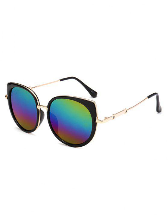 Gafas De Sol Marco Metálico Diseño Ojo De Gato Reflejantes - COLORIDO