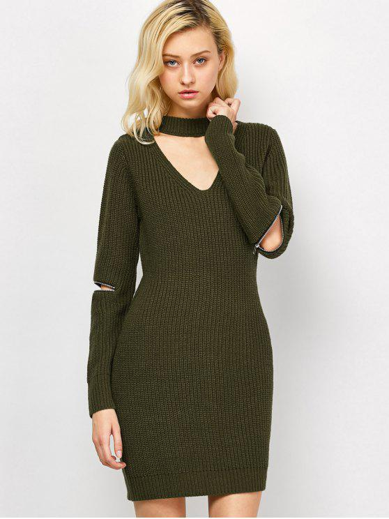 new Choker Neck Mini Fitted Sweater Dress - ARMY GREEN L