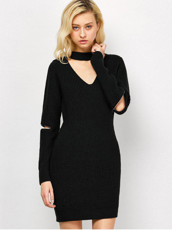 shops Choker Neck Short Sheath Fitted Sweater Dress - BLACK M