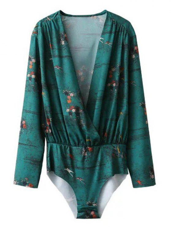 trendy Printed Wrap Bodysuit - GREEN S