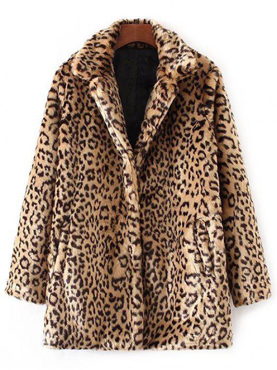 fashion Leopard Pattern Faux Fur Coat - KHAKI L