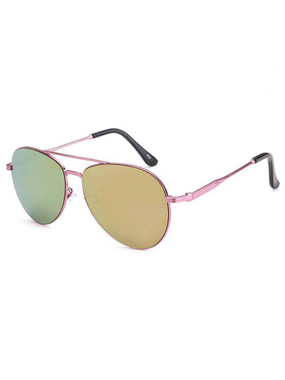 womens Metal Crossbar Pilot Mirrored Sunglasses - PINK