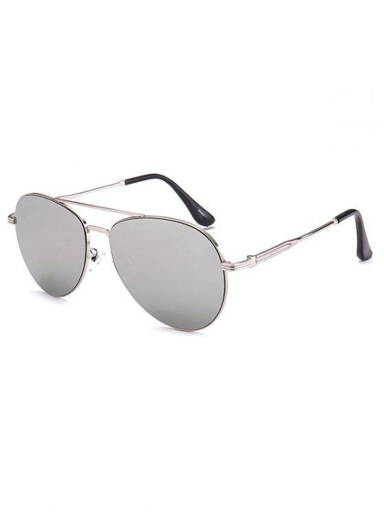 ladies Metal Crossbar Pilot Mirrored Sunglasses - SILVER
