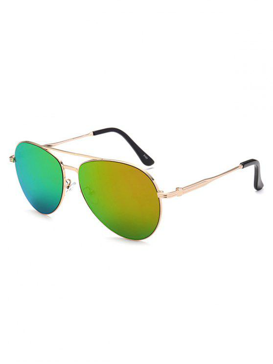 best Metal Crossbar Pilot Mirrored Sunglasses - GOLDEN