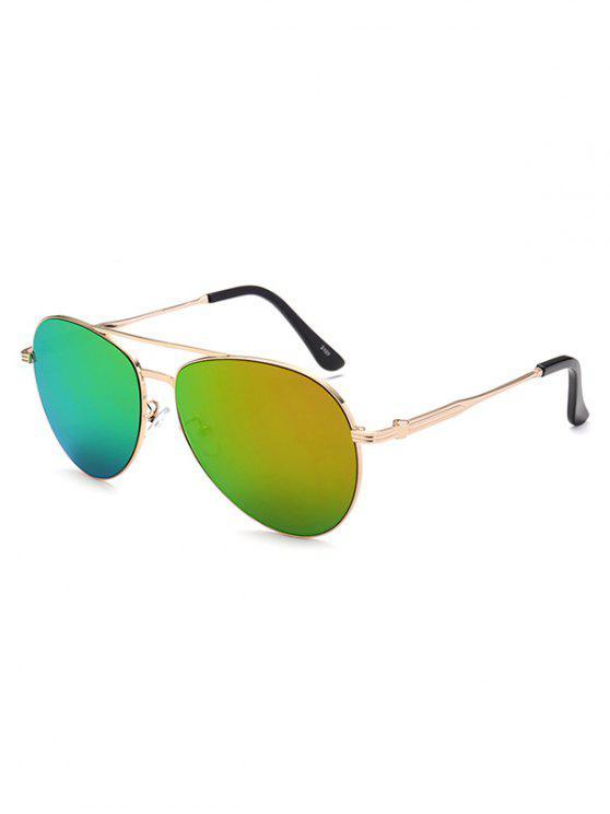 best Metal Crossbar Pilot Mirrored Sunglasses - GOLDEN