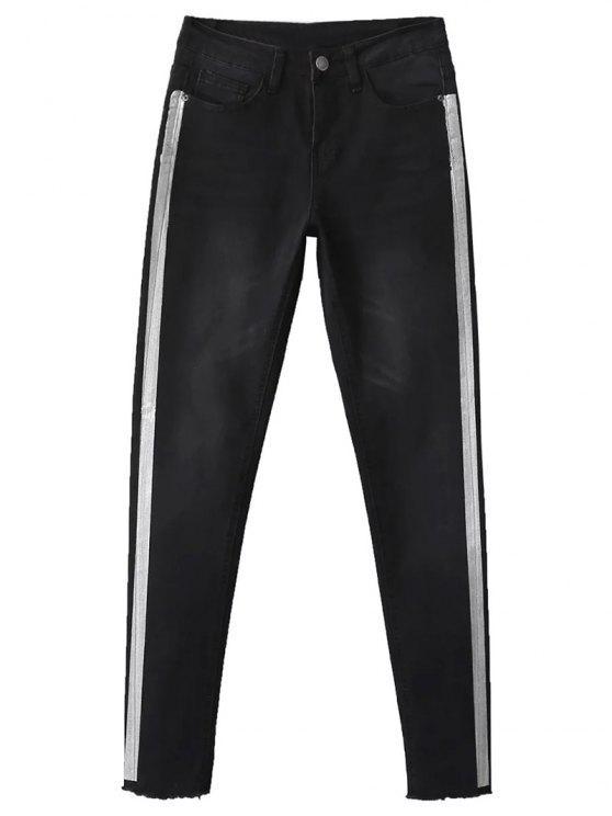 best Frayed Tapered Slim Jeans - BLACK 36