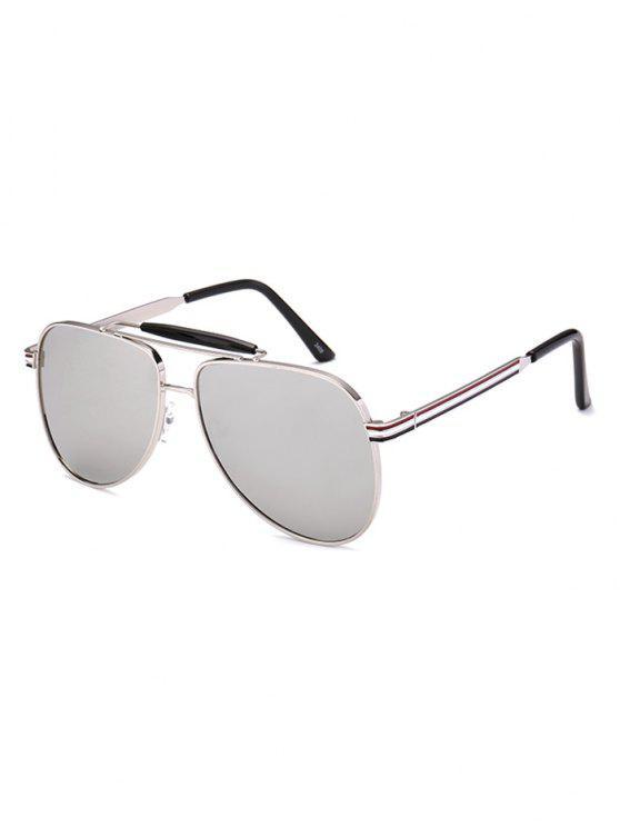 Gafas De Sol Estilo Piloto Piernas De Lápiz Reflejadas Anti Rayos UV - Plata